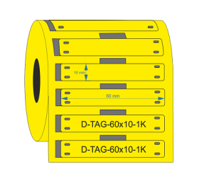 D-Identify DPUR60-10-1K-YL Yellow PUR Cable Tags 60mmX10mm
