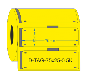 D-Identify DPUR75-25-0.5K-YL Yellow PUR Cable Tags 75mmX25mm