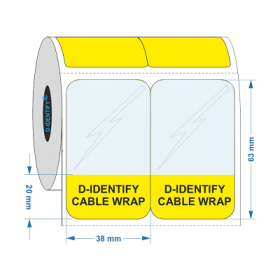 D-Identify SLAM-38X63-20-C1.5-1K-YL Self Laminating Cable Label 38mmX63mm-20mm