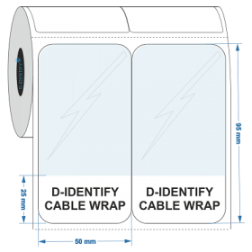 D-Identify SLAM-50X95-25-C1.5-0.5K-WH Self Laminating Cable Label 50mmX95mm-25mm