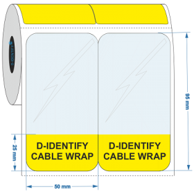 D-Identify SLAM-50X95-25-C1.5-0.5K-YL Self Laminating Cable Label 50mmX95mm-25mm